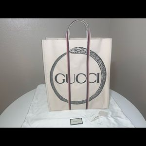 Authentic Gucci canvas snake shopper travel tote